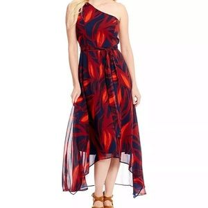 Vince Camuto One Shoulder Printed Maxi Dress Navy